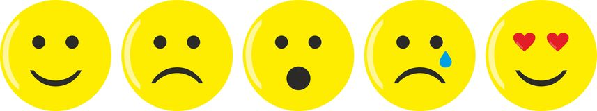 Five yellow emoticons with various moods vector illustration