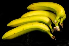 Five yellow and green bananas ready for a snack. Fruits of four different banana cultivars A banana is an edible fruit – botanically a berry[1][2 royalty free stock image