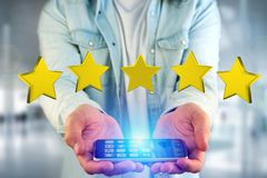 Five yellow stars on a futuristic interface - 3d rendering. View of Five yellow stars on a futuristic interface - 3d rendering stock image