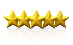 Five yellow stars on glossy plane Stock Image
