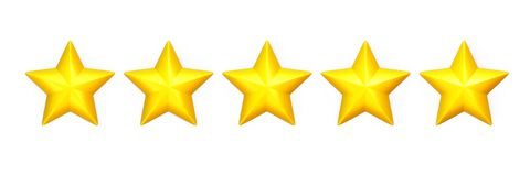 Five yellow stars in a row on white Royalty Free Stock Photos