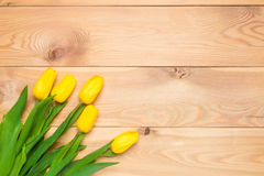Five yellow tulips on wooden boards Stock Images