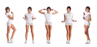 Five young brunette woman training with dumbbells Stock Images