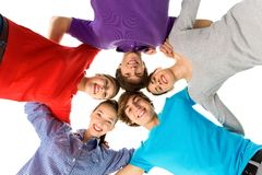 Five young friends. Group of casual young people Royalty Free Stock Images