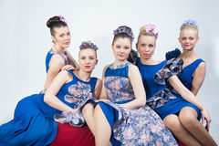 Five young girls looking forward Stock Images
