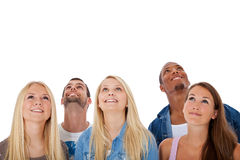 Five young people looking up Royalty Free Stock Photography