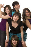 Five young smiling female friends Stock Photography