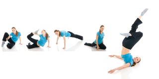The five young womans doing yoga exercise isolated Stock Image