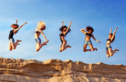 Five young women Stock Images
