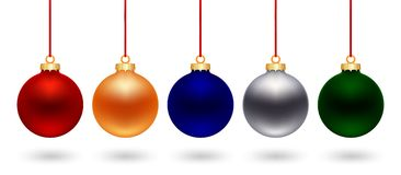 Five_color_christmas_ball Stock Images