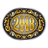 fivela de cinto ocidental oval do vaqueiro de 2018 anos Fotos de Stock Royalty Free