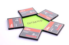 Fives Compact flash memory cards Stock Photo
