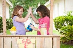 Fiving 2 маленьких девочек высокий Стоковая Фотография RF