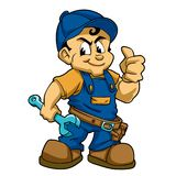 Fix boy with wrench. Vector illustration vector illustration