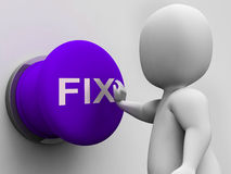 Fix Button Shows Repairing Faults And Maintenance. Fix Button Showing Repairing Faults And Maintenance Stock Photography