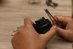 Fix camera lens, version 3. Fix camera lens, hand held tool to fix the camera, version 3 Stock Images