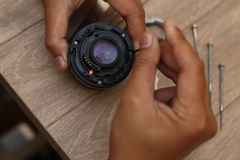 Fix camera lens, version 4 royalty free stock photo