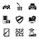 Fix computer icons set, simple style. Fix computer icons set. Simple set of 9 fix computer vector icons for web isolated on white background Royalty Free Stock Photo