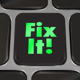 Fix It Computer Key Repair Instructions Advice. A black square computer key with words Fix It to offer advice, instructions or other helpful information to stock illustration