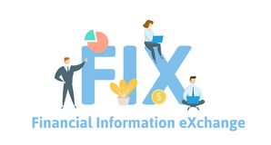 FIX, Financial Information Exchange. Concept with keywords, letters and icons. Flat vector illustration. Isolated on vector illustration