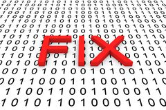 FIX. In the form of binary code, 3D illustration vector illustration