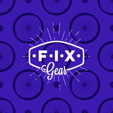 Fix gear logo on seamless pattern with bicycle wheel, vector illustration Royalty Free Stock Image