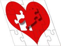 Fix the heart. Fix the jigsaw piece stock illustration