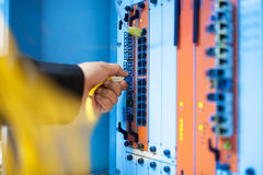 Fix network switch in data center room Royalty Free Stock Image