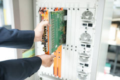 Fix network switch in data center room Stock Image