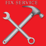 Fix service sign on red background Royalty Free Stock Image
