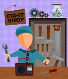 Fix-it shop. Abstract man holding a screwdriver and wrench and about to fix a radio Royalty Free Stock Photos