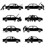 Fix Wash Repair Check Car Tyre Pictogram vector illustration