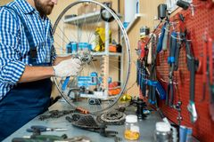 Fix work. Repairman standing by his workplace and tightening bolt on bicycle wheel Stock Image