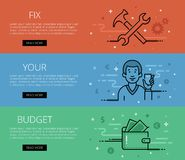 Fix Your Budget. Line vector web banners set Royalty Free Stock Photography