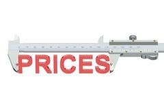 Fixa o preço do conceito de medição 3D Fotografia de Stock
