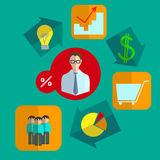 Fixated business infographics icons set. Infographics set of business icons in a logical sequence looped the consistent implementation of the idea into flat royalty free illustration