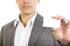 fixation blanc de carte d'homme d'affaires Photo stock