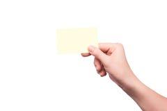 fixation blanc de main de carte de visite professionnelle de visite Photographie stock libre de droits
