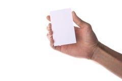 fixation blanc de main de carte de visite professionnelle de visite Photos libres de droits