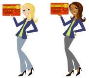 Fixation de femme par la carte de crédit Images stock
