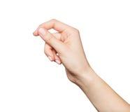Fixation de la main de la femme quelque chose Photographie stock libre de droits