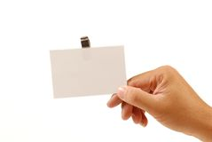 fixation de main de carte vierge images libres de droits