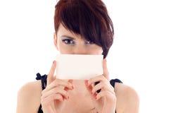 Fixation modèle une carte de visite professionnelle de visite ou un signe blanc Photos stock