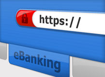 Fixe em linha eBanking Fotos de Stock