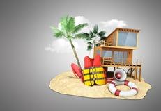 Fixe o anel de vida do revestimento de vida do conceito da praia e um chifre e outro ilustração stock