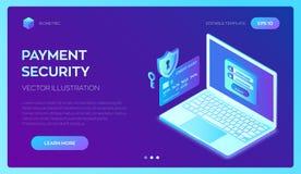 Fixe o pagamento Conceito da protecção de dados Proteção de dados pessoal A verificação e o software do cartão de crédito alcança ilustração royalty free