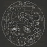 Fixed bicycle on chalk Royalty Free Stock Photos