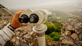 Fixed Binoculars. Fixed Binolculars on top of Castillo de Moros, Sintra in Portugal Stock Photo