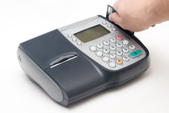 Fixed Credit Card Terminal with Hand. Fixed Electronic Credit Card Terminal with Hand royalty free stock photography