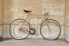 Fixed gear bicycle. Vintage fixed gear bicycle with a pink chain royalty free stock photography
